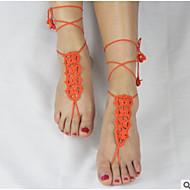 お買い得  靴用品-ファブリック 足のアクセント 女性用 オールシーズン カジュアル オレンジ レッド