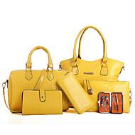 お買い得  バッグセット-女性 バッグ PU バッグセット 6個の財布セット ジッパー のために カジュアル 春 秋 ブラック ベージュ イエロー フクシャ ワイン
