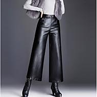 Γυναικεία Πλατύ Πόδι / Chinos Παντελόνι - Μονόχρωμο Μαύρο
