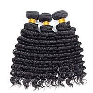 Cabelo Brasileiro Onda Profunda Cabelo Humano Ondulado 3 pacotes 8-28polegada Tramas de cabelo humano Preto Natural Mulheres