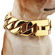 Χαμηλού Κόστους Περιλαίμια σκύλων και λουράκια-Σκύλος Κολάρα Ασφάλεια Μονόχρωμο Ανοξείδωτο Ατσάλι Χρυσό