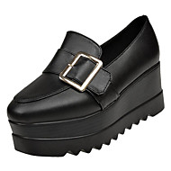 cheap Women's Slip-Ons & Loafers-Women's Shoes PU Spring Comfort Loafers & Slip-Ons Creepers Round Toe for Casual Black Brown Black/White