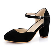 Mujer Zapatos Cuero de Napa Primavera / Otoño Tira en T Oxfords Tacón Cuadrado Dedo redondo Negro / Gris / Rojo kssO4LO