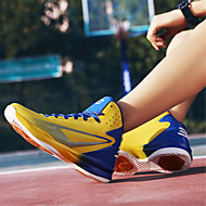 billige Træningssko til damer-Dame Sko PU Forår Sommer Komfort Sportssko Basketball Flade hæle for Atletisk udendørs Gul Sort/Hvid Sort/Rød Sort/Gul