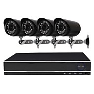 cheap DVR Kits-4 Channel 1080N AHD DVR Security Camera System with 4 Weatherproof 1.0MP Cameras with Night Vision