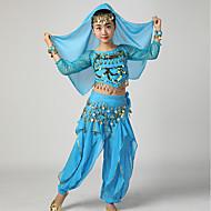 Belly Dance Outfits Girls' Performance Chiffon Paillette Ruffles 3/4 Length Sleeves Dropped Top Pants Belt Bracelets Headwear