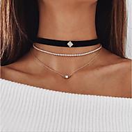女性用 ラインストーン チョーカー レイヤードネックレス  -  セクシー ファッション 円形 幾何学形 ゴールド ネックレス 用途 お出かけ 祝日