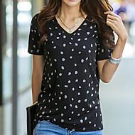 Majica s rukavima Žene Osnovni Dnevno Na točkice Kratkih rukava V izrez Pamuk Ljeto Crn Sive boje S M L XL XXL