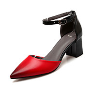 Žene Cipele PU Proljeće Jesen Udobne cipele Inovativne cipele Cipele na petu Kockasta potpetica Krakova Toe Okrugli Toe Kopča za