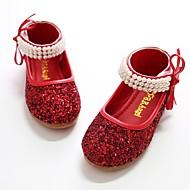 baratos Sapatos de Menina-Para Meninas Sapatos Paetês Primavera / Outono Bailarina / Sapatos para Daminhas de Honra Rasos Pérolas Sintéticas / Velcro para Prata /