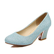 cheap Women's Heels-Women's Shoes Glitter Spring Fall Comfort Heels High Heel Round Toe for Wedding Office & Career Silver Blue Almond