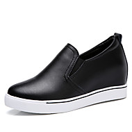 Women's Shoes Real Leather Spring Fall Gladiator Loafers & Slip-Ons Creepers Round Toe for Casual Dress Black White