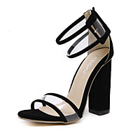 cheap Women's Sandals-Women's Shoes Synthetic Microfiber PU Spring Summer Slingback Basic Pump Ankle Strap Sandals Chunky Heel Open Toe Hollow-out for Dress