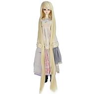 Χαμηλού Κόστους Περούκες για κούκλες-Συνθετικές Περούκες Κατσαρά Ίσια Ξανθό Συνθετικά μαλλιά Ξανθό Περούκα Γυναικεία πολύ μακριά Χωρίς κάλυμμα Blonde / κούκλα περούκα