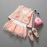 Pige Tøjsæt Daglig Ensfarvet, Polyester Forår Langærmet Sødt Lyserød