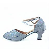 billige Moderne sko-Dame Moderne Kunstlær Glitter Høye hæler Kustomisert hæl Svart Sølv Fuksia Rød Blå Kan spesialtilpasses