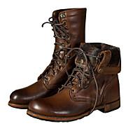 baratos Sapatos Masculinos-Fashion Boots Couro Ecológico Outono / Inverno Botas Botas Curtas / Ankle / Botas Cano Médio Marron / Festas & Noite