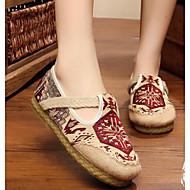 levne Dámské boty s plochou podrážkou-Dámské Boty Len Jaro / Podzim Pohodlné Bez podpatku Nízký podpatek Červená / Modrá