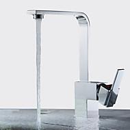 お買い得  浴槽用蛇口-コンテンポラリー 滝状吐水タイプ セラミックバルブ シングルハンドルつの穴 ニッケルポリッシュ, 水栓