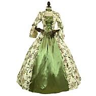 로코코 빅토리안 18 세기 코스츔 여성용 드레스 그린 빈티지 코스프레 3/4 길이 소매 퍼프 / 벌룬 바닥 길이 긴 길이 볼 드레스 플러스 사이즈 사용자 정의