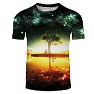 Rund hals Herre - Farveblok Trykt mønster Plusstørrelser T-shirt