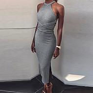 女性用 シース ドレス - バックレス, 純色 マキシ ストラップレス