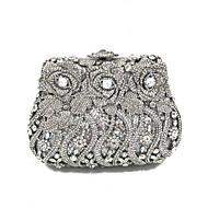 baratos Clutches & Bolsas de Noite-Mulheres Bolsas Metal Bolsa de Festa Detalhes em Cristal Prata