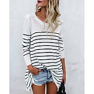 economico Top da donna-T-shirt Per donna Essenziale A strisce Cotone