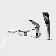cheap Bathtub Faucets-Contemporary Roman Tub Waterfall Handshower Included Ceramic Valve Three Holes Single Handle Three Holes Chrome, Bathtub Faucet