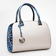 baratos Bolsas Tote-Mulheres Bolsas PU Tote Com Relevo Azul / Branco / Preto
