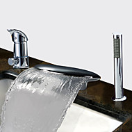 cheap Bathtub Faucets-Contemporary Tub And Shower Waterfall Widespread Ceramic Valve Three Holes Two Handles Three Holes Chrome, Bathtub Faucet