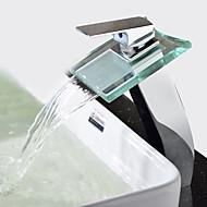 cheap Chrome series-Contemporary Modern Vessel Waterfall Ceramic Valve One Hole Single Handle One Hole Chrome, Bathroom Sink Faucet