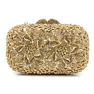 baratos Clutches & Bolsas de Noite-Mulheres Bolsas vidro / Metal Bolsa de Festa Miçangas / Apliques / Detalhes em Cristal Dourado / Prata / Arco-íris