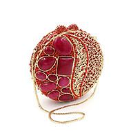 baratos Clutches & Bolsas de Noite-Mulheres Bolsas Metal Bolsa de Festa Detalhes em Cristal Prata / Vermelho