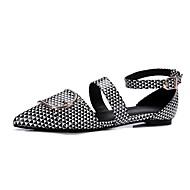 baratos Sapatilhas Femininas-Mulheres Sapatos Couro Envernizado Primavera Verão Inovador Conforto Rasos Sem Salto Dedo Apontado Presilha para Festas & Noite Preto