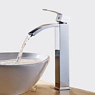 Χαμηλού Κόστους Βρύσες Κορυφαίες σε Πωλήσεις-Μπάνιο βρύση νεροχύτη - Καταρράκτης / Εκτεταμένο Χρώμιο Αναμεικτικές με ενιαίες βαλβίδες Ενιαία Χειριστείτε μια τρύπα / Ορείχαλκος