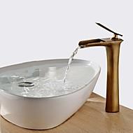 Χαμηλού Κόστους Βρύσες νιπτήρα μπάνιου-Σύγχρονο Παραδοσιακό Αναμεικτικές με ενιαίες βαλβίδες Καταρράκτης Κεραμική Βαλβίδα Ενιαία Χειριστείτε μια τρύπα Πεπαλαιωμένος Ορείχαλκος,