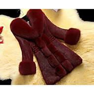V-hals Dame Ensfarvet Sofistikerede I-byen-tøj Pelsfrakke Imiteret pels