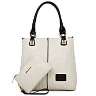 お買い得  バッグセット-女性用 バッグ PU バッグセット 2個の財布セット ジッパー のために カジュアル ホワイト / ブラック / ルビーレッド