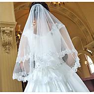 1 strato Moderno / Matrimonio / Stile semplice Veli da sposa Velo corto (ai gomiti) con Frangia / A fantasia Di pizzo / Tulle / Ovale