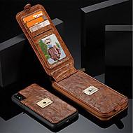 billiga Mobil cases & Skärmskydd-fodral Till Apple iPhone X / iPhone 8 Plånbok / Korthållare / Stötsäker Fodral Enfärgad Hårt Äkta Läder för iPhone X / iPhone 8 Plus / iPhone 8