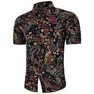גיאומטרי וינטאג' / בוהו מידות גדולות פשתן, חולצה - בגדי ריקוד גברים דפוס שחור XXL / שרוולים קצרים / קיץ