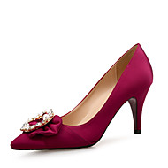 cheap Women's Heels-Women's Sparkling Glitter / Silk Fall Comfort Heels Stiletto Heel Pointed Toe Rhinestone / Beading Orange / Light Purple / Wine / 2-3 / Party & Evening