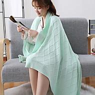 billiga Filtar och plädar-Stickat, Färgat garn Enfärgad Geometrisk Cotton filtar