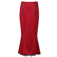 Dame Plusstørrelser Bomuld Bodycon Nederdele - I-byen-tøj Ensfarvet Delt Høj Talje