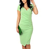Γυναικεία Αργίες Βασικό Βαμβάκι Λεπτό Εφαρμοστό Φόρεμα - Μονόχρωμο, Patchwork Ασύμμετρο Λαιμόκοψη V