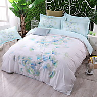 billige Blomstrete dynetrekk-Sengesett Blomstret 4 deler Polyester/Bomull 100% bomull Mønstret Polyester/Bomull 100% bomull 1stk Dynetrekk 2stk Trekk 1stk Flatt Laken