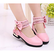 baratos Sapatos de Menina-Para Meninas Sapatos Couro Ecológico Primavera / Outono Conforto / Salto minúsculos para Adolescentes Saltos para Branco / Preto / Rosa