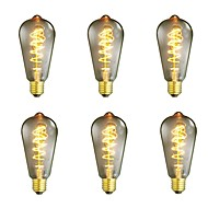 baratos Incandescente-6pcs 40W E26/E27 ST64 Branco Quente 2200-2700 K Retro Regulável Decorativa Incandescente Vintage Edison Light Bulb 220-240V V