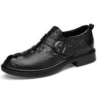 baratos Sapatos Masculinos-Homens Pele Napa Primavera / Outono Conforto Oxfords Tênis Anfíbio Preto